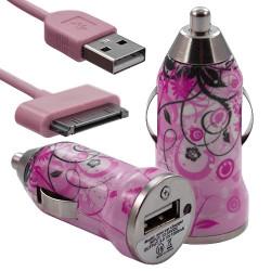 Chargeur 3en1 Auto et Secteur USB motif HF17 pour Apple iPhone 4S