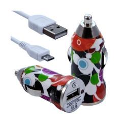 Chargeur voiture allume cigare USB avec câble data pour Wiko Ozzy avec motif CV12