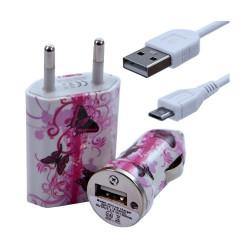 Chargeur maison + allume cigare USB + câble data pour Wiko Darkside avec motif CV09