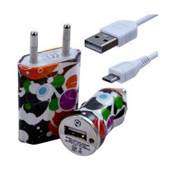 Chargeur maison + allume cigare USB + câble data pour Wiko Stairway avec motif CV12