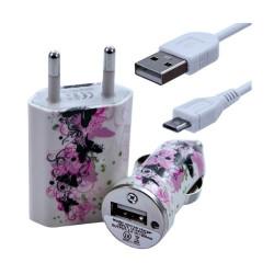 Chargeur maison + allume cigare USB + câble data pour Wiko Stairway avec motif CV14