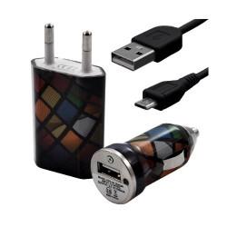 Chargeur maison + allume cigare USB + câble data pour Wiko Cink Five avec motif CV02