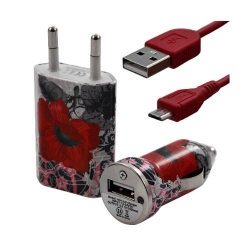 Chargeur maison + allume cigare USB + câble data pour Wiko Cink + avec motif CV01