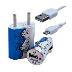 Chargeur maison + allume cigare USB + câble data pour Wiko Ozzy avec motif HF25