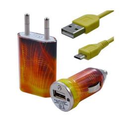 Chargeur maison + allume cigare USB + câble data pour Wiko Ozzy avec motif CV05