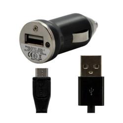 Chargeur voiture allume cigare USB avec câble data pour Wiko Darkside Couleur Noir