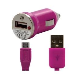 Chargeur voiture allume cigare USB avec câble data pour Wiko Darkside Couleur Rose Fushia