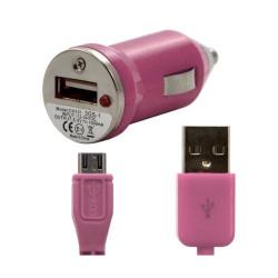 Chargeur voiture allume cigare USB avec câble data pour Wiko Iggy Couleur Rose Pâle