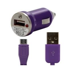 Chargeur voiture allume cigare USB avec câble data pour Wiko Iggy Couleur Violet