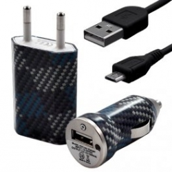 Chargeur maison + allume cigare USB + câble data pour Wiko Cink Peax 2