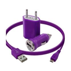Chargeur maison + allume cigare USB + câble data pour Wiko Cink Five Couleur Violet