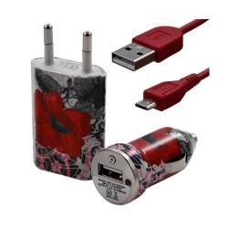Chargeur maison + allume cigare USB + câble data pour Wiko Cink Peax 2 avec motif CV01