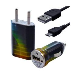 Chargeur maison + allume cigare USB + câble data pour Wiko Cink Peax 2 avec motif CV06