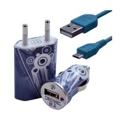 Chargeur maison + allume cigare USB + câble data pour Wiko Cink Peax 2 avec motif CV07