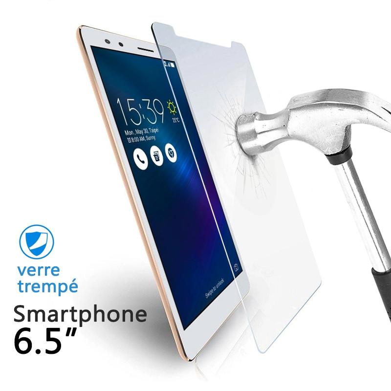Verre Trempé Universel pour Smartphones 6.5 pouces (dimensions 9.2 x 17 cm)