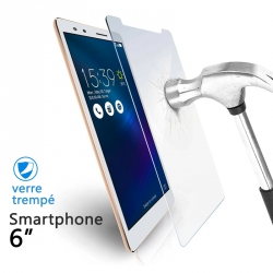 Verre Trempé Universel pour Smartphones 6 pouces (dimensions 7.7 x 15,5 cm)