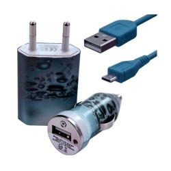 Chargeur maison + allume cigare USB + câble data pour Wiko Cink Peax 2 avec motif CV08