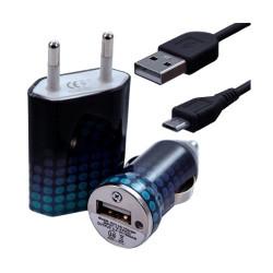 Chargeur maison + allume cigare USB + câble data pour Wiko Cink Peax 2 avec motif CV10