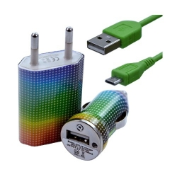 Chargeur maison + allume cigare USB + câble data pour Wiko Cink Peax 2 avec motif CV13