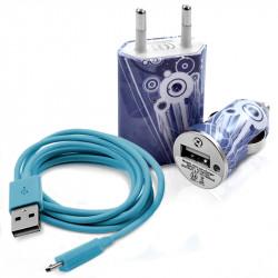 Chargeur maison + allume cigare USB + câble data CV07 pour Archos : 35 Carbon/ 40 Titanium/ 45 Helium 4G/ 45 Platinum/ 45 Titan