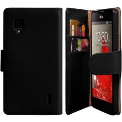 Housse Coque Etui Portefeuille pour LG Optimus G Couleur Noir