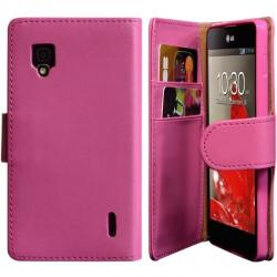 Housse Coque Etui Portefeuille pour LG Optimus G Couleur Rose Fushia