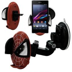 Support universel voiture auto 2en1 pour Sony Xperia Z1 Motif Toile Rouge