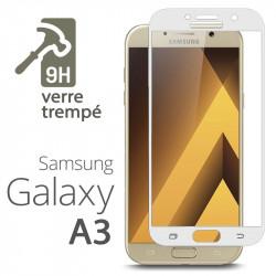 Protection Écran Vitre en Verre Trempé Bords Blanc pour Samsung Galaxy A3