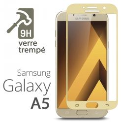 Protection Écran Vitre en Verre Trempé Bords Gold pour Samsung Galaxy A5 (2017)