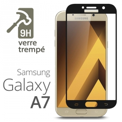 Protection Écran Vitre en Verre Trempé Bords Noir pour Samsung Galaxy A7 (2017)