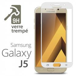 Protection Écran Vitre en Verre Trempé Bords Blanc pour Samsung Galaxy J5