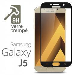 Protection Écran Vitre en Verre Trempé Bords Noir pour Samsung Galaxy J5