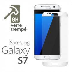 Protection Écran Vitre en Verre Trempé Bords blanc pour Samsung Galaxy S7 edge