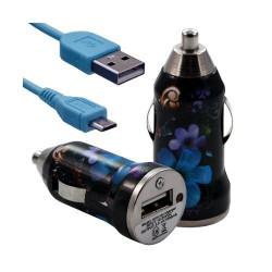 Chargeur voiture allume cigare USB avec câble data pour Nokia Asha 311 avec motif HF16