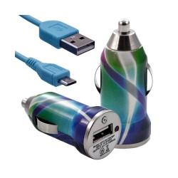 Chargeur voiture allume cigare USB avec câble data pour Nokia Asha 311 avec motif CV03