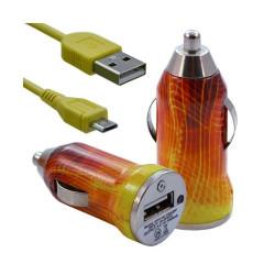 Chargeur voiture allume cigare USB avec câble data pour Nokia Asha 311 avec motif CV05