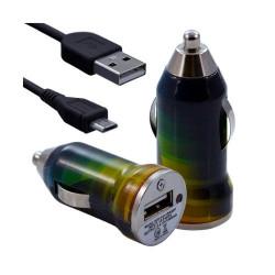 Chargeur voiture allume cigare USB avec câble data pour Nokia Asha 311 avec motif CV06