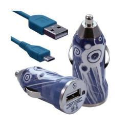 Chargeur voiture allume cigare USB avec câble data pour Nokia Asha 311 avec motif CV07