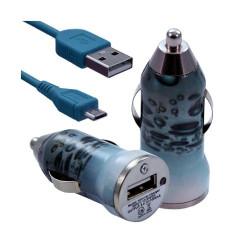 Chargeur voiture allume cigare USB avec câble data pour Nokia Asha 311 avec motif CV08