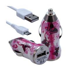 Chargeur voiture allume cigare USB avec câble data pour Nokia Asha 311 avec motif CV09