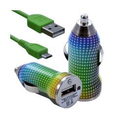 Chargeur voiture allume cigare USB avec câble data pour Nokia Asha 311 avec motif CV13