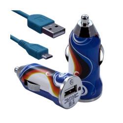 Chargeur voiture allume cigare USB avec câble data pour Nokia Asha 311 avec motif CV15