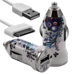 Chargeur voiture allume cigare USB avec câble data avec motif HF01 pour Apple : iPod 2 / iPod 4G / iPod 5G / iPod Photo / iPod