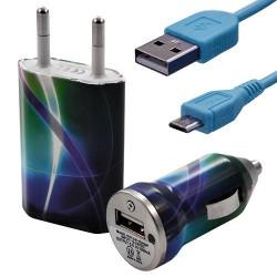 Mini Chargeur 3en1 Auto et Secteur USB avec câble data avec motif CV03 pour Sony : Xperia J / Xperia P / Xperia S / Xperia T /