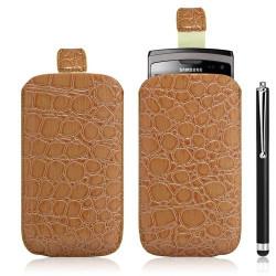 Housse coque étui pochette style croco pour Samsung Wave 2 S8530 + Stylet