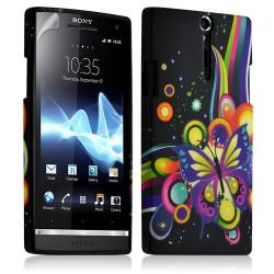 Housse coque étui gel pour Sony Xperia S motif HF05+ Film protecteur