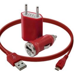 Mini Chargeur 3en1 Auto Et Secteur Usb Avec Câble Data Rouge pour Samsung : Champ Duos E2652 / Chat 222 E2222 / Chat 335 S3350