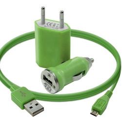 Mini Chargeur 3en1 Auto Et Secteur Usb Avec Câble Data Vert pour Samsung : Champ Duos E2652 / Chat 222 E2222 / Chat 335 S3350 /