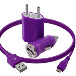 Mini Chargeur 3en1 Auto Et Secteur Usb Avec Câble Data Violet pour Samsung : Champ Duos E2652 / Chat 222 E2222 / Chat 335 S3350