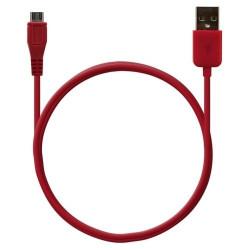 Câble data usb charge 2en1 couleur Rouge pour BlackBerry : Bold 9700 / Bold 9780 / Bold 9790 / Bold 9900 / Curve 3G 9300 / Curv